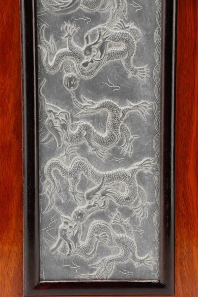Asian Carved Panoramic Hardstone Plaque, 9 Dragons - 4