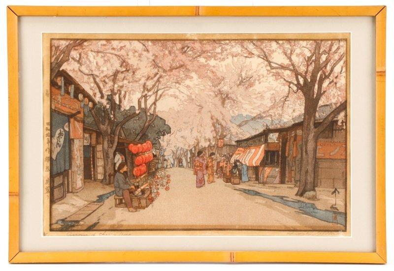 H. Yoshida Signed Woodcut, Avenue of Cherry Trees
