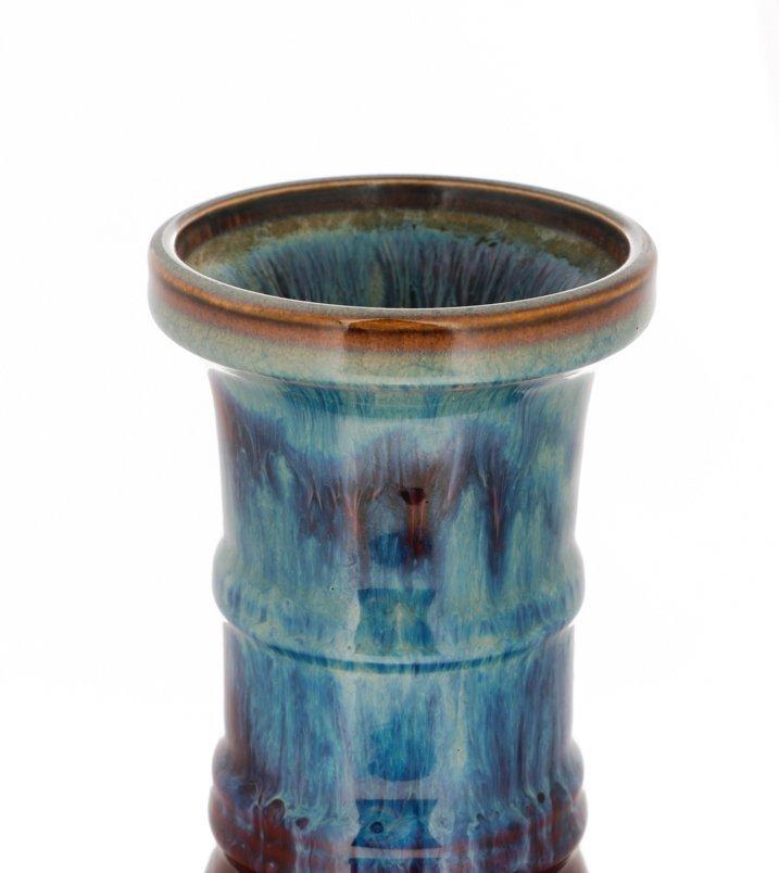Unique Flambe Glazed Chinese Vase, Bamboo Neck - 2