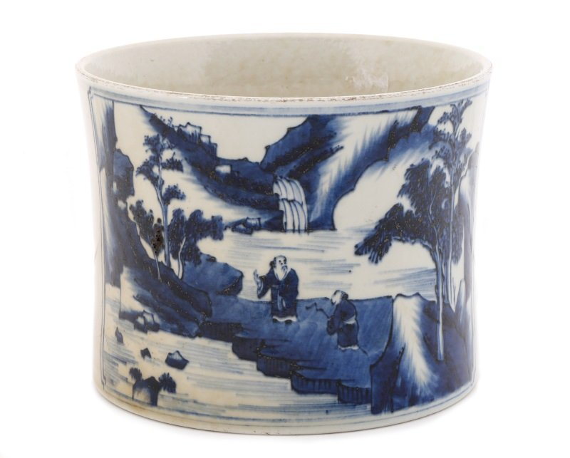 Chinese Brush Pot w/ Landscape Scenes, Kangxi Mark