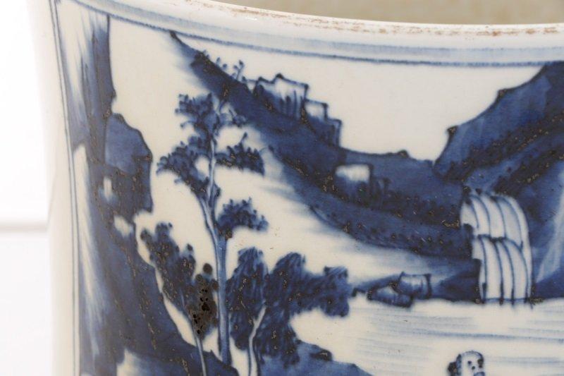 Chinese Brush Pot w/ Landscape Scenes, Kangxi Mark - 3