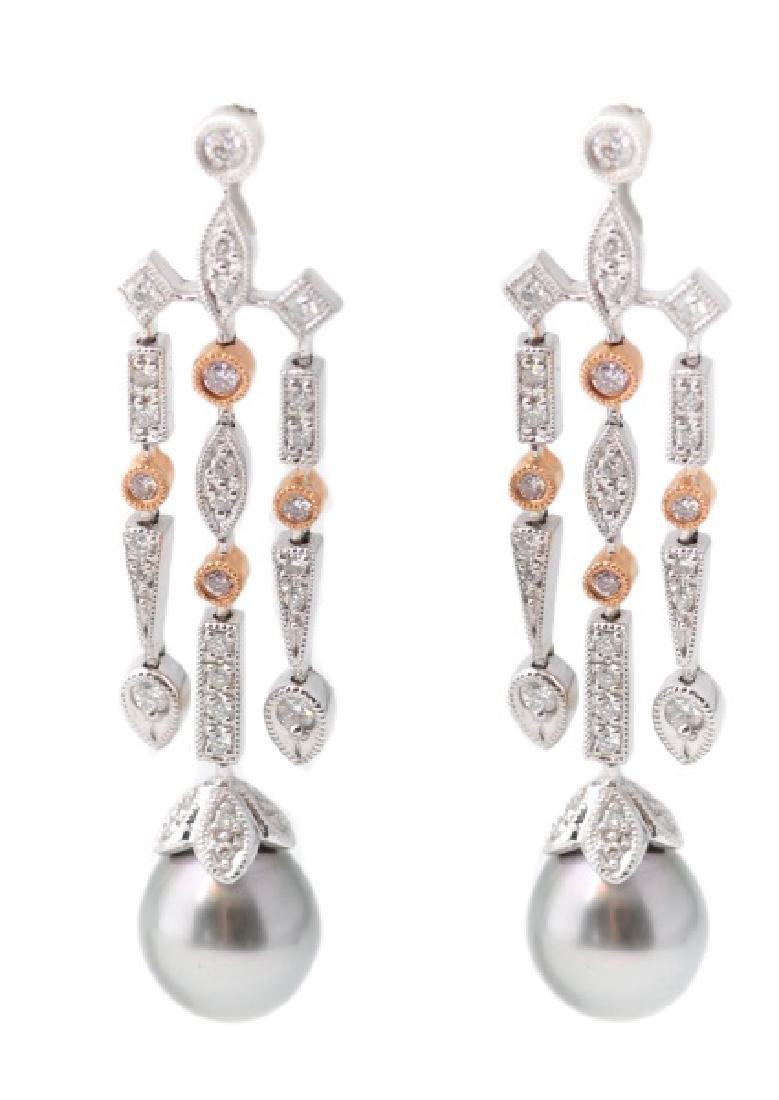 Pair, 14k Two-Tone Gold, Diamond, & Pearl Earrings