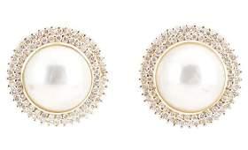 Ladies 14k Yellow Gold Pearl  Diamond Earrings