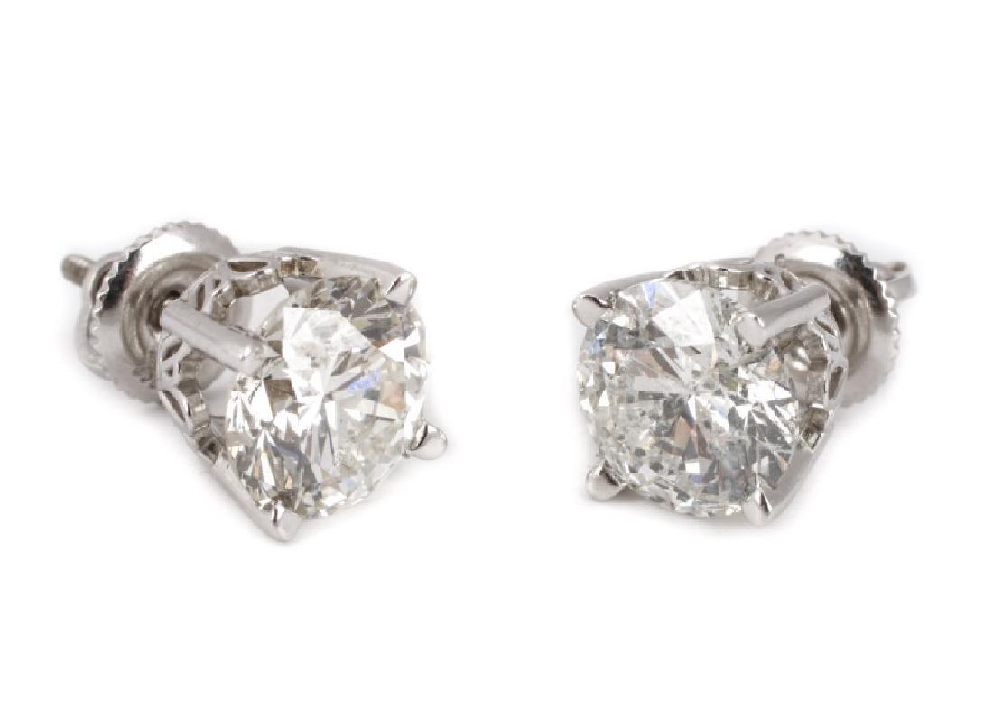 Ladies 14k White Gold & Diamond Stud Earrings