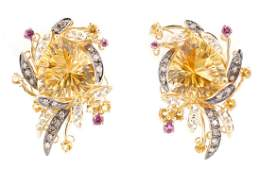Pair Le Vian 14k Yellow Gold MultiStone Earrings