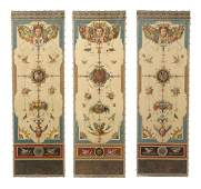Set of 3 Early 20th C Italian Hand Painted Panels