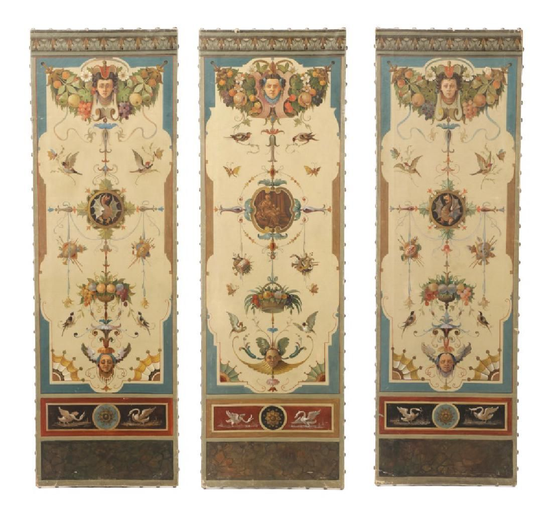 Set of 3 Early 20th C. Italian Hand Painted Panels