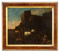 Italian School Capriccio with White Horse Oil