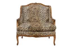Louis XV Style Walnut Bergere et Marquise, Leopard