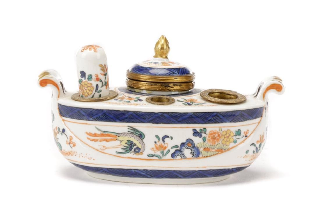 French Porcelain Encrier Inkwell w/ Chantilly Mark