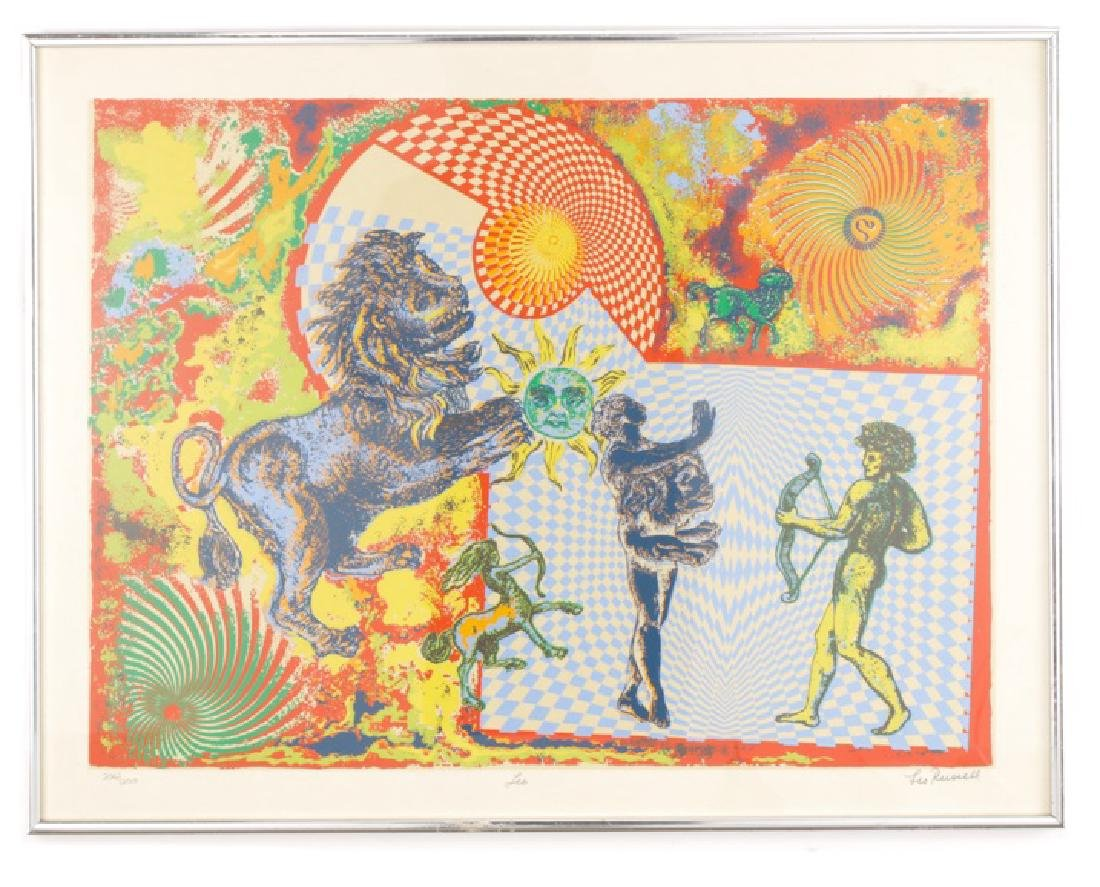 """Leo Russell, """"Leo"""", Surrealist Serigraph in Colors"""