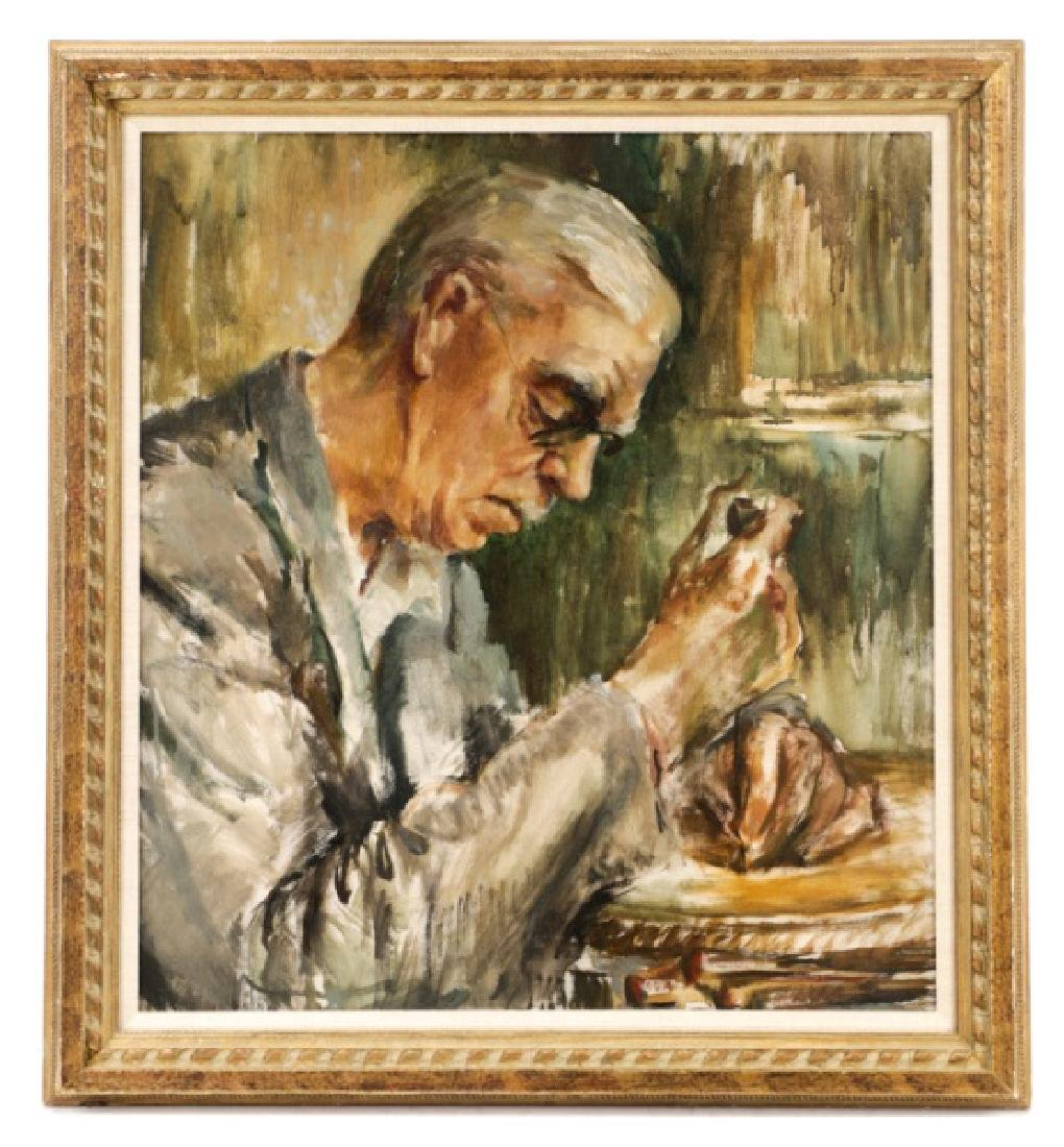 """American School, """"Untitled (Man with Chisel)"""", Oil"""