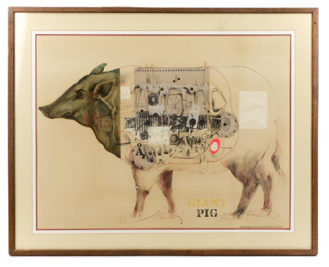 """Robert Allen Nelson, """"Giant Pig"""", Mixed Media"""
