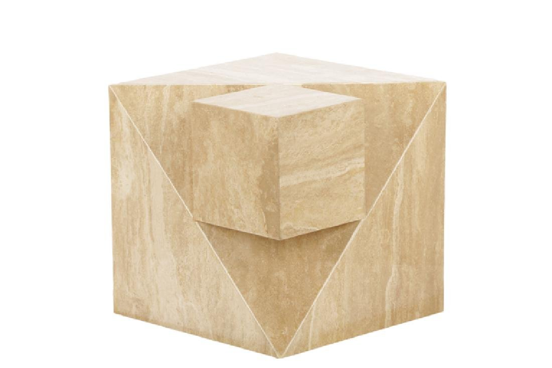Modern Travertine Marble Cube Side Table