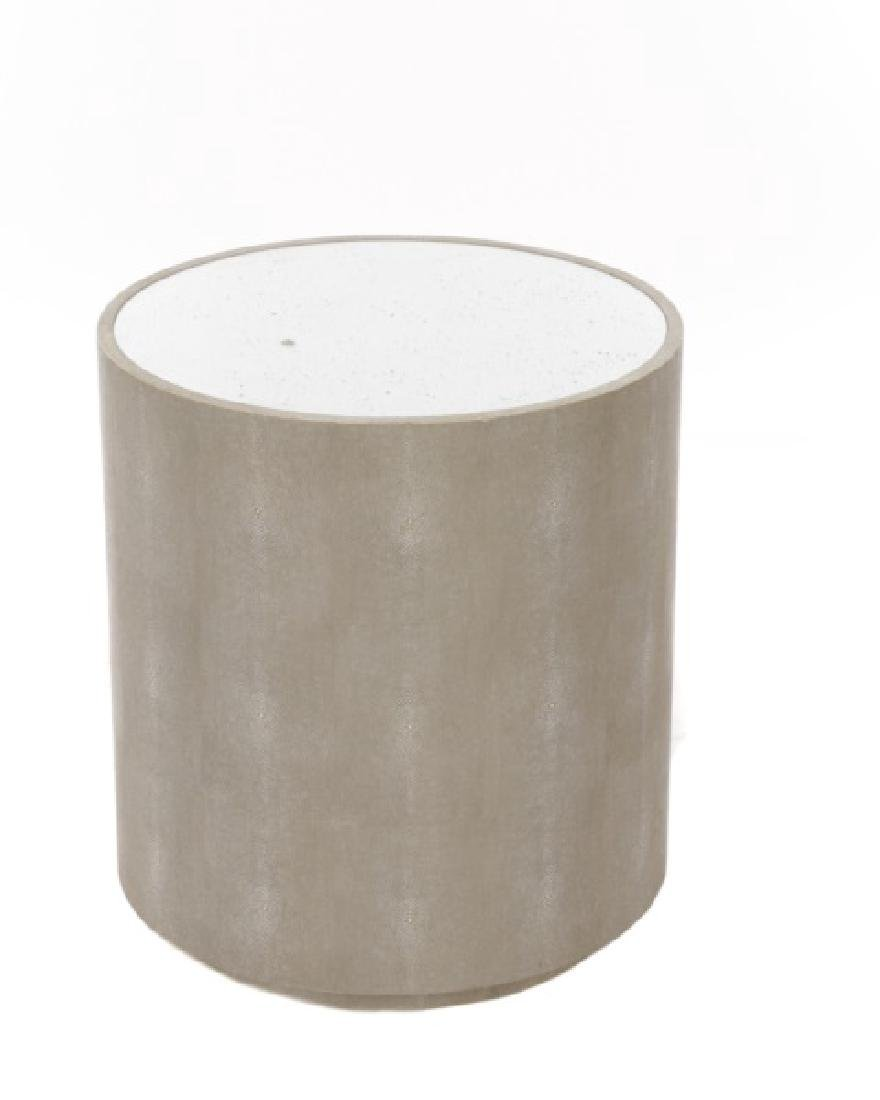 Contemporary Faux Shagreen & Mirrored Table