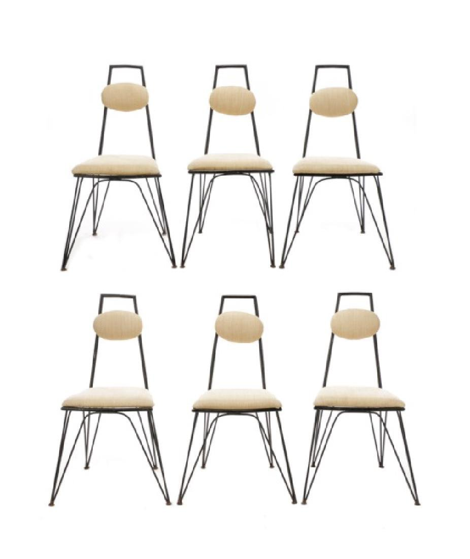 Set, 6 French Stylized Wrought Iron Side Chairs