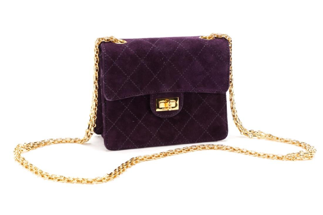 Chanel Quilted Suede Mini Classic Square Flap Bag