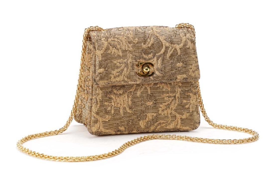 Chanel Gold Brocade Mini Flap Evening Bag