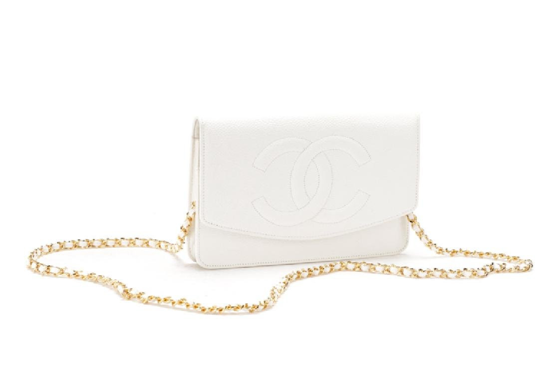 Chanel White Caviar Leather Wallet on Chain