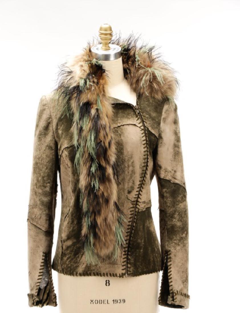 Roberto Cavalli Suede and Raccoon Fur Coat