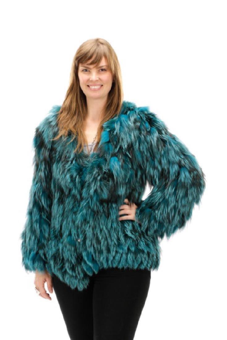Roberto Cavalli Teal Blue Fox Fur Coat