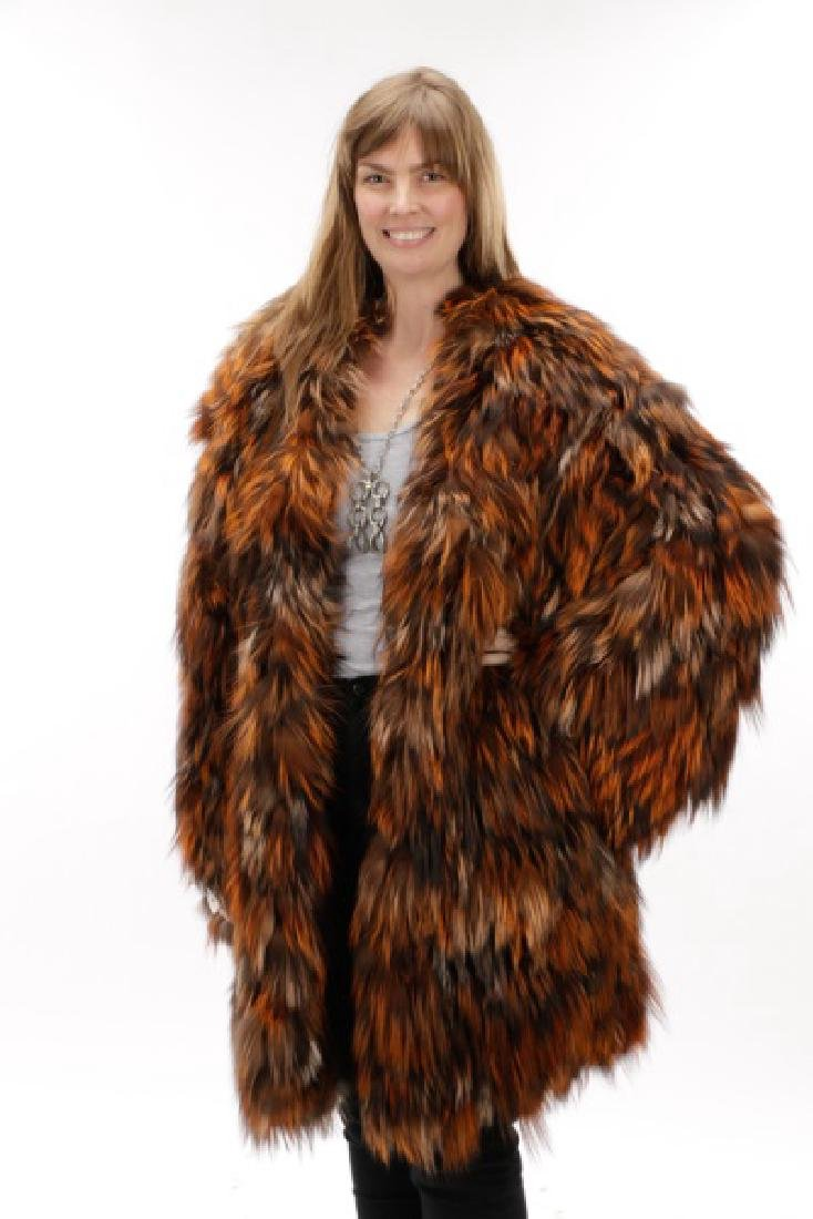 Roberto Cavalli Pieced and Dyed Fox Fur Coat