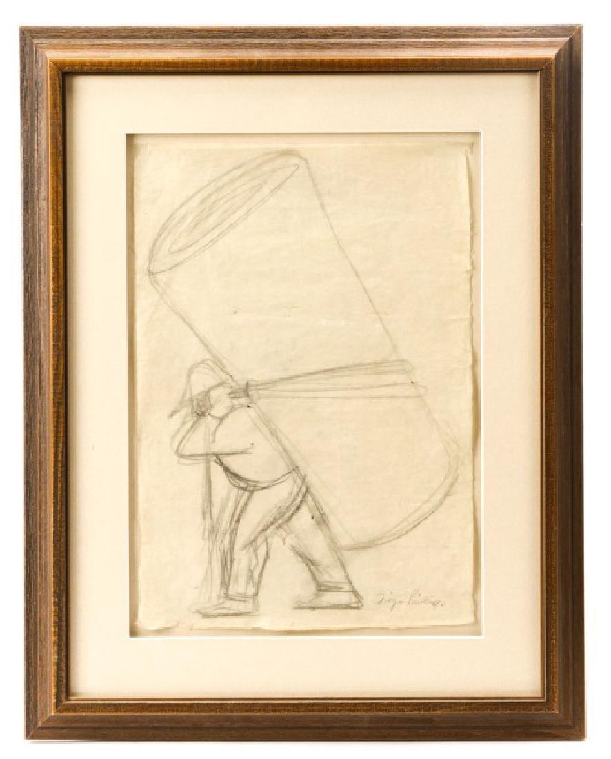 """Diego Rivera, """"Vendedor de Petates"""", Graphite"""