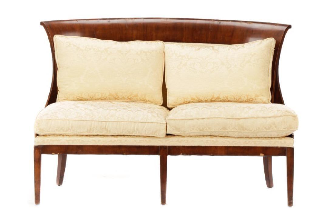 Art Deco Flared Back Silk Upholstered Settee