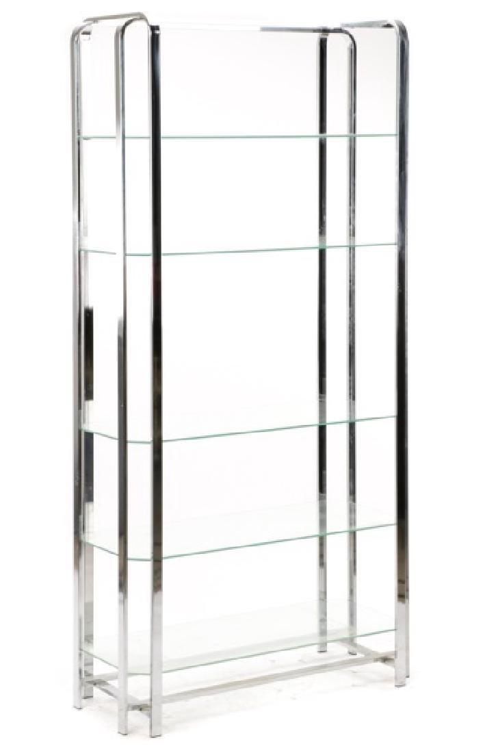 Mid Century Modern Chromed Steel & Glass Etagere