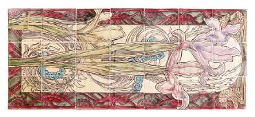 21pc Villeroy  Boch Jugendstil Tile Panel Iris