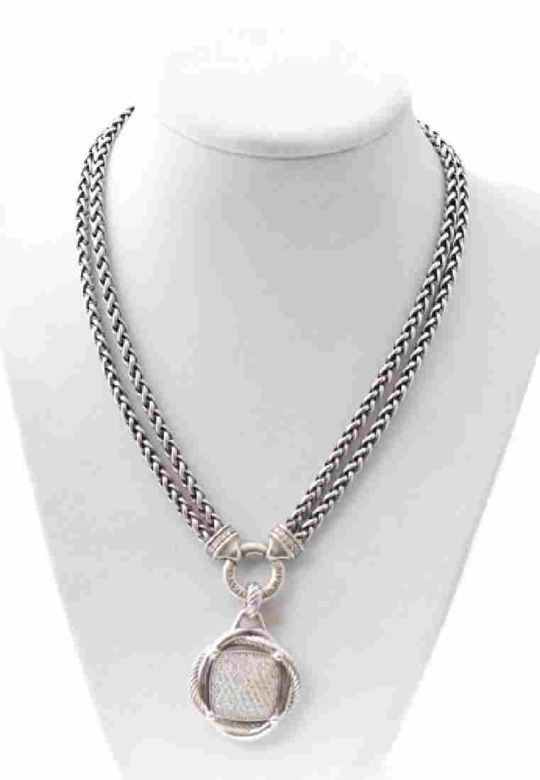 David Yurman Sterling & Diamond Wheat Necklace