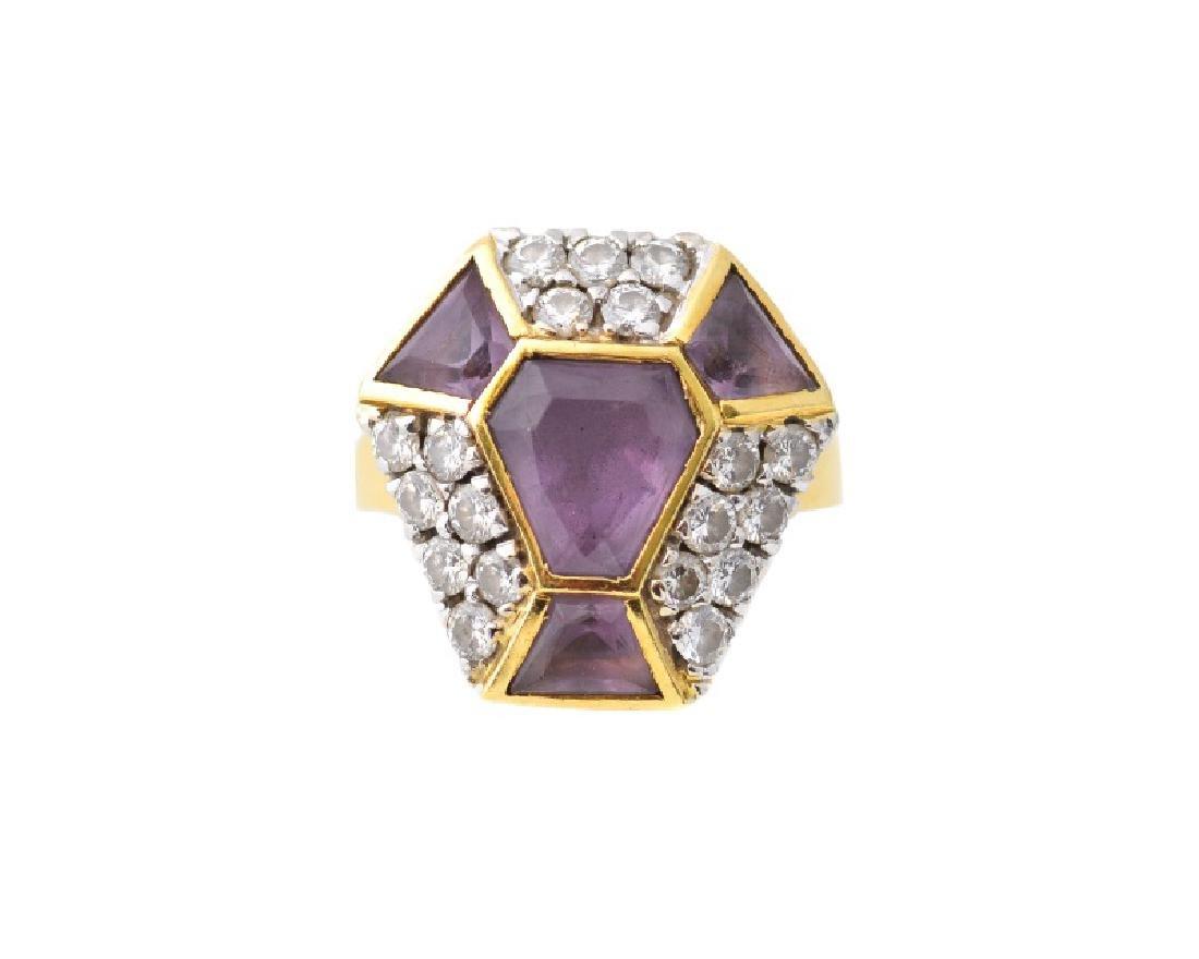 Italian 18k Yellow Gold, Amethyst, & Diamond Ring