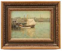 G H McCord Harbor Scene Oil on Board