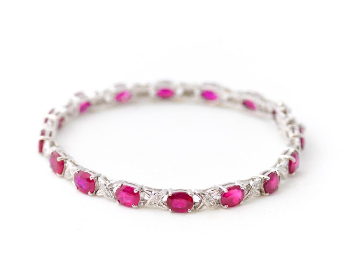 Ladies 18k White Gold, Ruby, & Diamond Bracelet