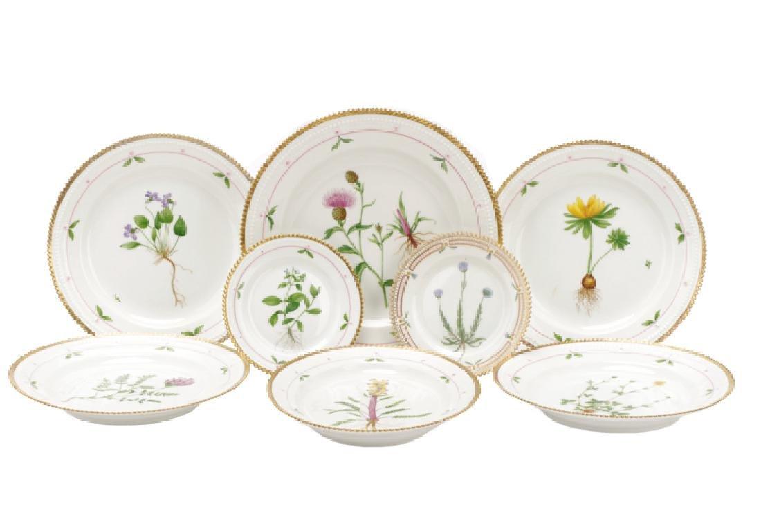 8 Pcs Flora Danica Porcelain, Royal Copenhagen