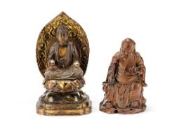 Two Chinese Carved Wood Buddhistic Figures