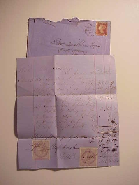 1865 English Envelope Invoices Stamps