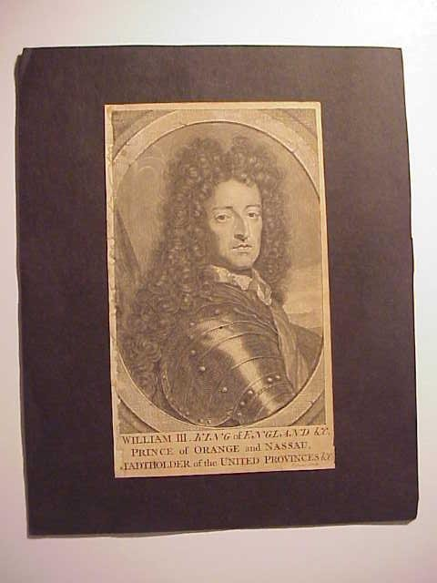 Mounted Engraving of William III, 18th century.