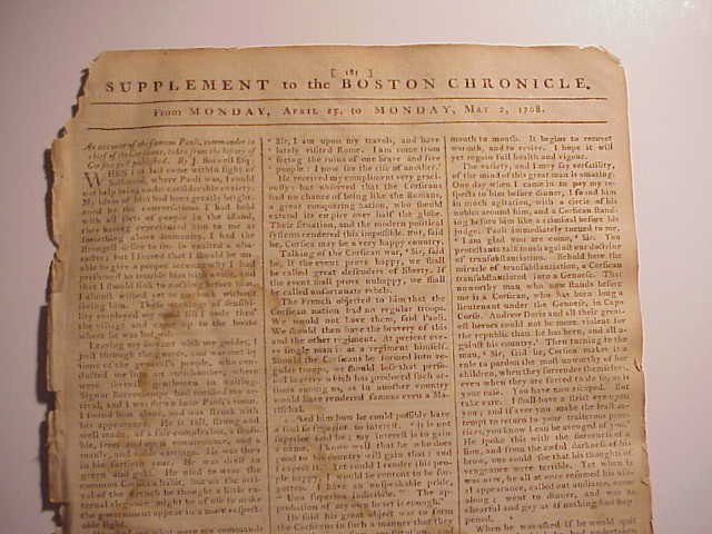 1768 Boston Chronicle Supplement