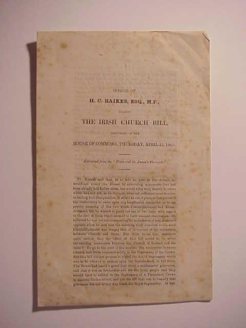 1869 Pamphlet Against Irish Church Bill