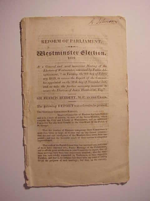 1819 English Pamphlet Westminster Elections