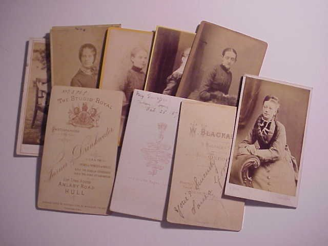 Group of TEN Victorian CDV Photographs with studio back