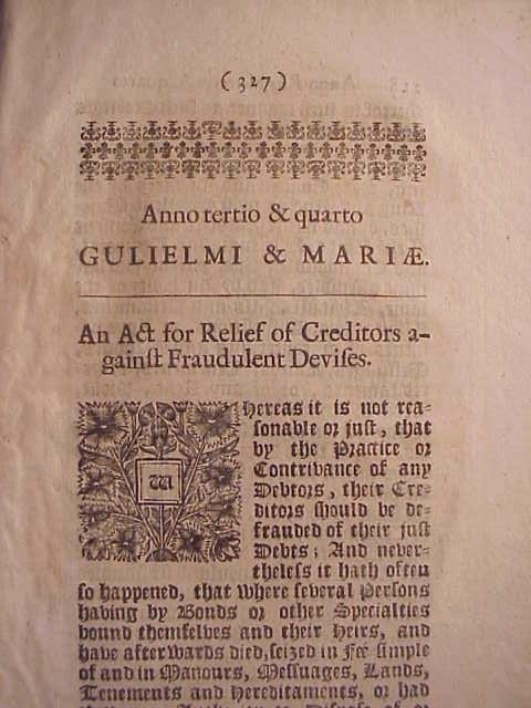 1691 English Act William and Mary