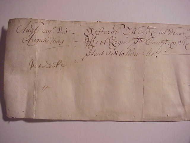 1689 Manuscript Exchequer Receipt Signed