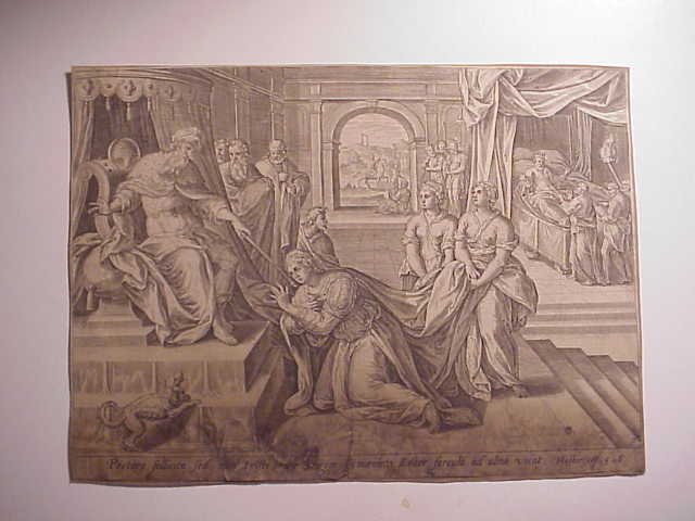 Old Master Engraving Queen Esther