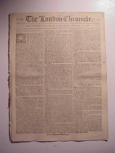 1766 Issue of The London Chronicle