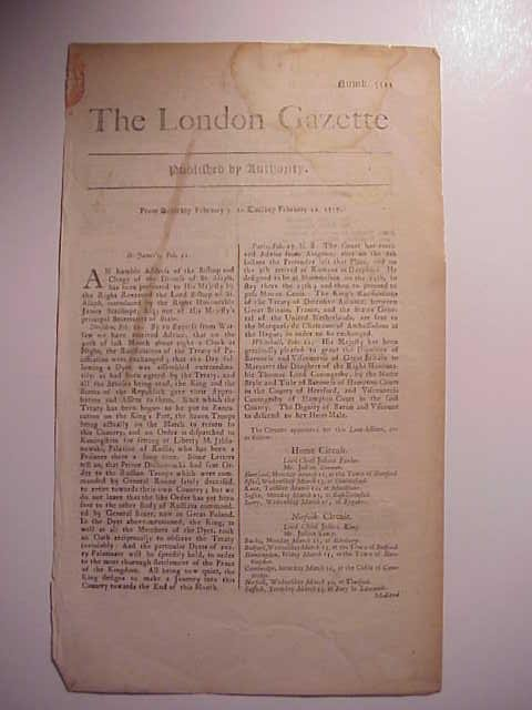1717 Issue of London Gazette