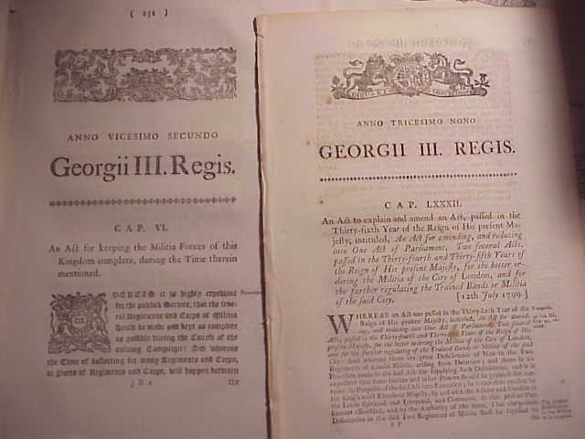Seven English Military Acts 1782 and Later
