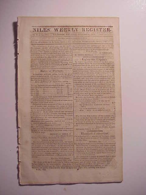 1815 Niles Weekly War of 1812 News