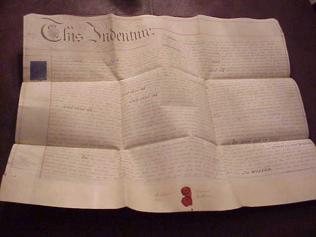1836 Large English Vellum Indenture Red Wax Seals